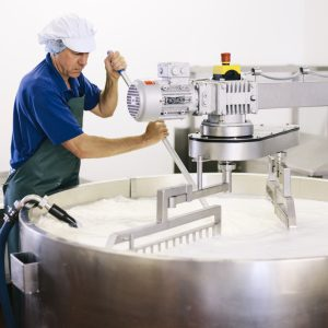 Image of man operating a cheese churning machine.