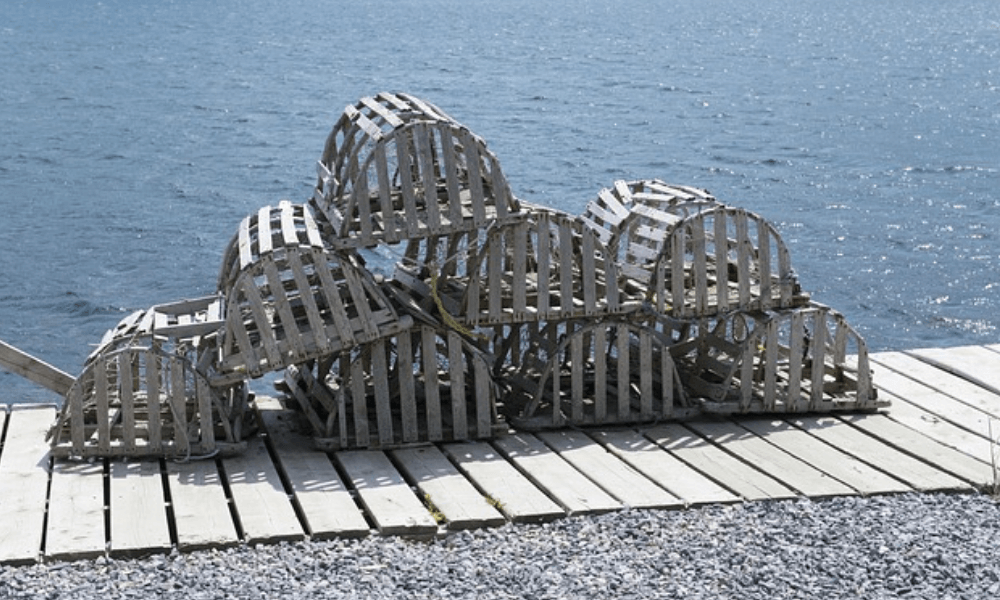 Image of lobster cages on the dock.